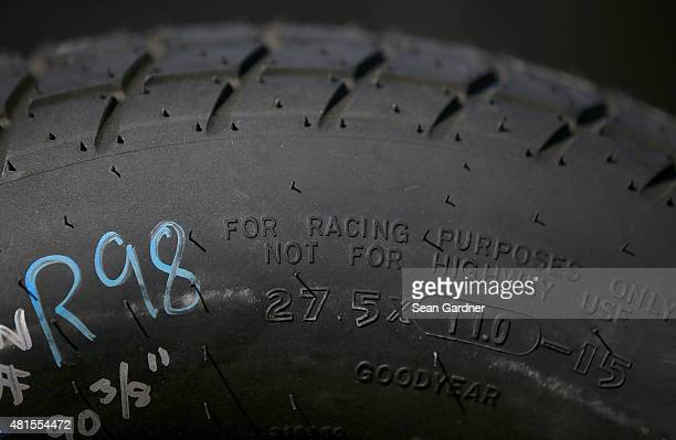 A general view of tire tread for Nextant/Curb Records Toyota during practice for the 3rd Annual 1800CarCash Mud Summer Classic at Eldora Speedway on...