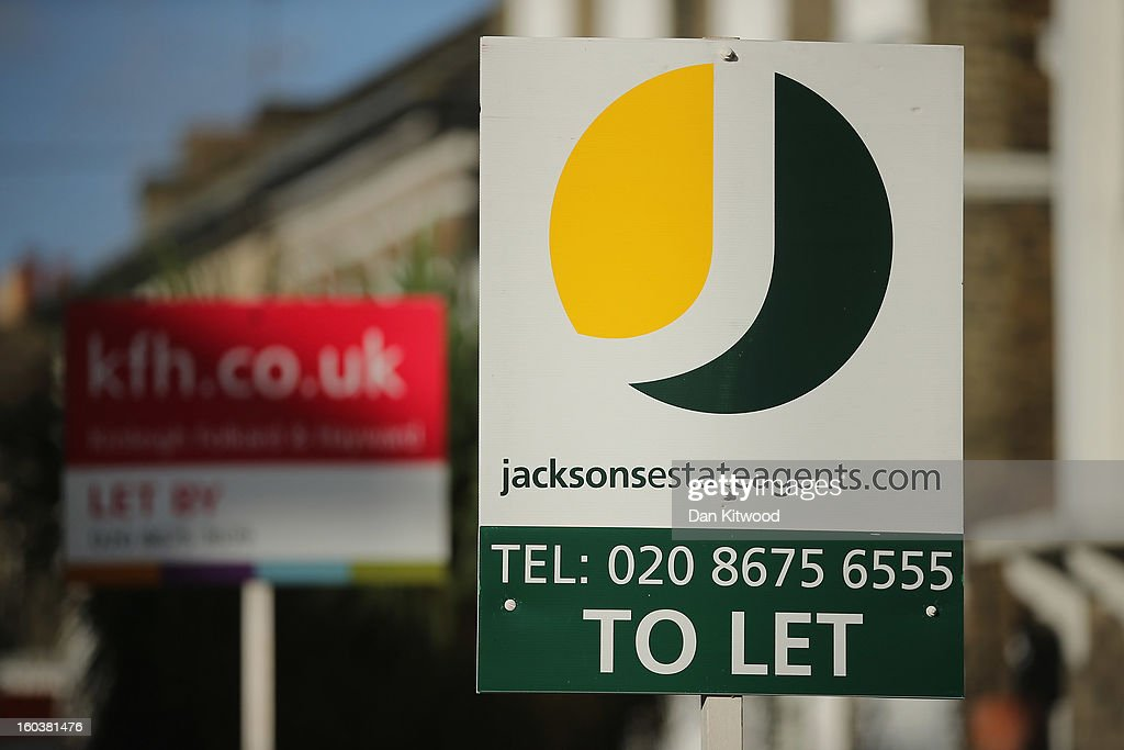 A general view of To Let signs next to property near Clapham on January 30, 2013 in London, England. According to a report from independent analysts Oxford Economics, the average mortgage deposit for first-time buyers in London, is likely to exceed £100,000 GBP by 2020.