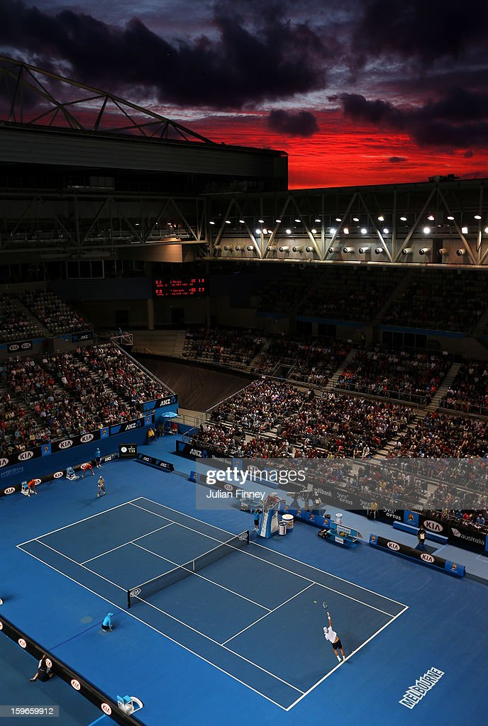 A general view of <a gi-track='captionPersonalityLinkClicked' href=/galleries/search?phrase=Tomas+Berdych&family=editorial&specificpeople=239147 ng-click='$event.stopPropagation()'>Tomas Berdych</a> of Czech Republic serving to Jurgen Melzer of Austria in his third round match during day five of the 2013 Australian Open at Melbourne Park on January 18, 2013 in Melbourne, Australia.