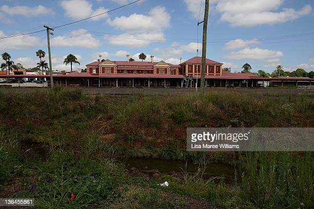 A general view of Toowoomba central train station as seen on January 6 2012 in Toowoomba Australia January 10 marks the one year anniversary of the...