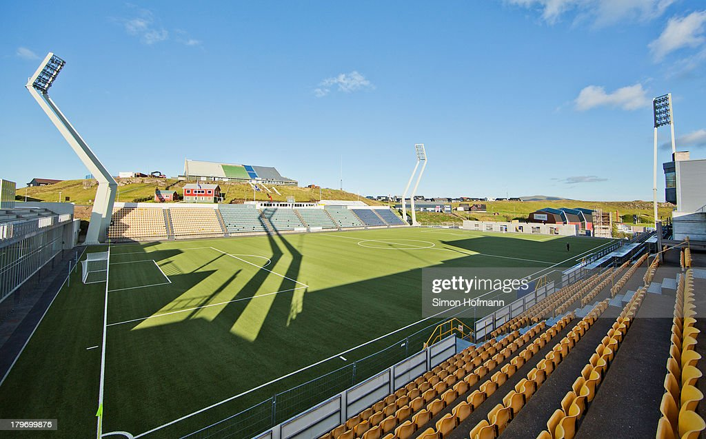 A general view of Torsvollur prior to the UEFA Under21 Euro 2015 Qualifier match between Faroe Islands and Germany at Torsvollur Stadium on September...