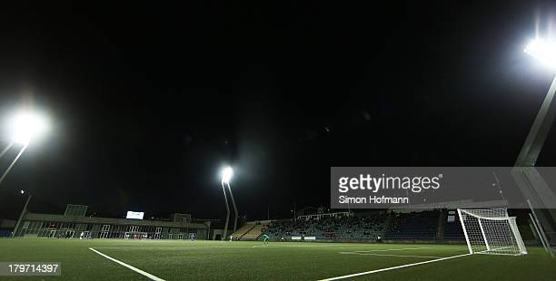 A general view of Torsvollur Stadium during the UEFA Under21 Euro 2015 Qualifier match between Faroe Islands and Germany at Torsvollur Stadium on...