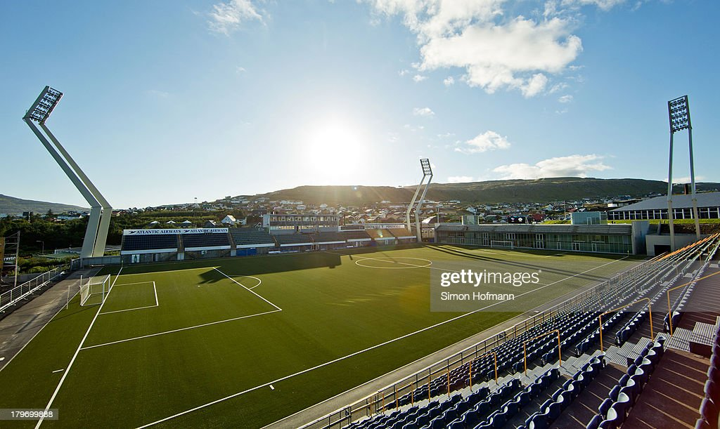 A general view of Torsvollur Stadium prior to the UEFA Under21 Euro 2015 Qualifier match between Faroe Islands and Germany at Torsvollur Stadium on...