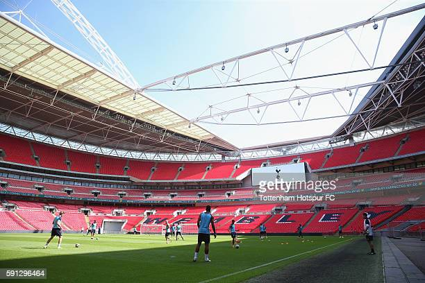 General view of Tottenham training during the Tottenham Hotspur training session at Wembley Stadium on August 17 2016 in London England