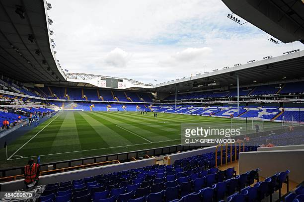 A general view of Tottenham's White Hart Lane football stadium taken ahead of their English Premier League match against Queens Park Rangers in north...