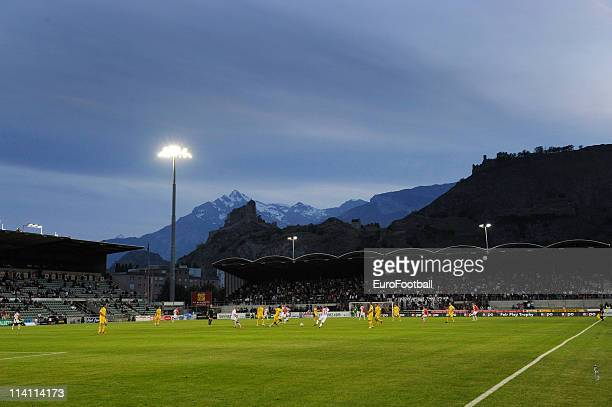 A general view of Tourbillon Stadium during the Swiss Super League match between FC Sion and FC Luzern at Stade Tourbillon on May 10 2011 in Sion...