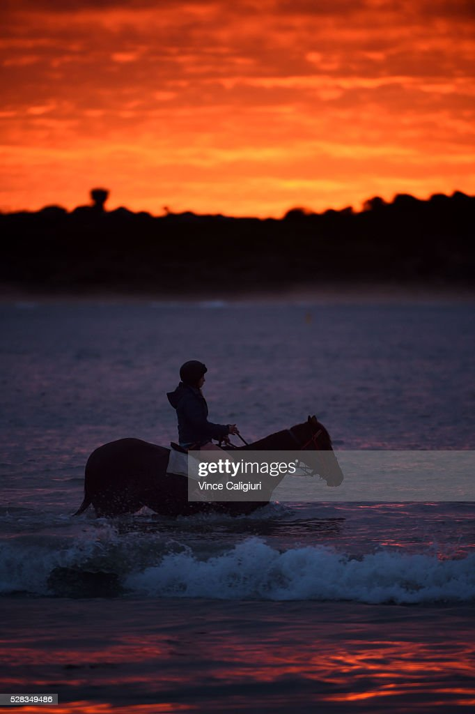 General view of trackwork session at Lady Bay beach ahead of day three of the Warrnambool Racing Carnival on May 05, 2016 in Warrnambool, Victoria. Riders gallop the horses up and down the foreshore before cooling the horses in the ocean.