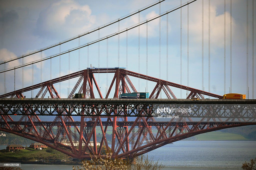 A general view of traffic crossing the Forth Rail and Road Bridges on April 24, 2014 in South Queensferry, Scotland. A referendum on whether Scotland should be an independent country will take place on September 18, 2014.
