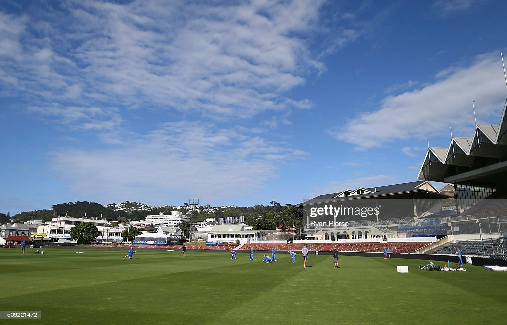 A general view of training during an Australian nets session at Basin Reserve on February 11, 2016 in Wellington, New Zealand.