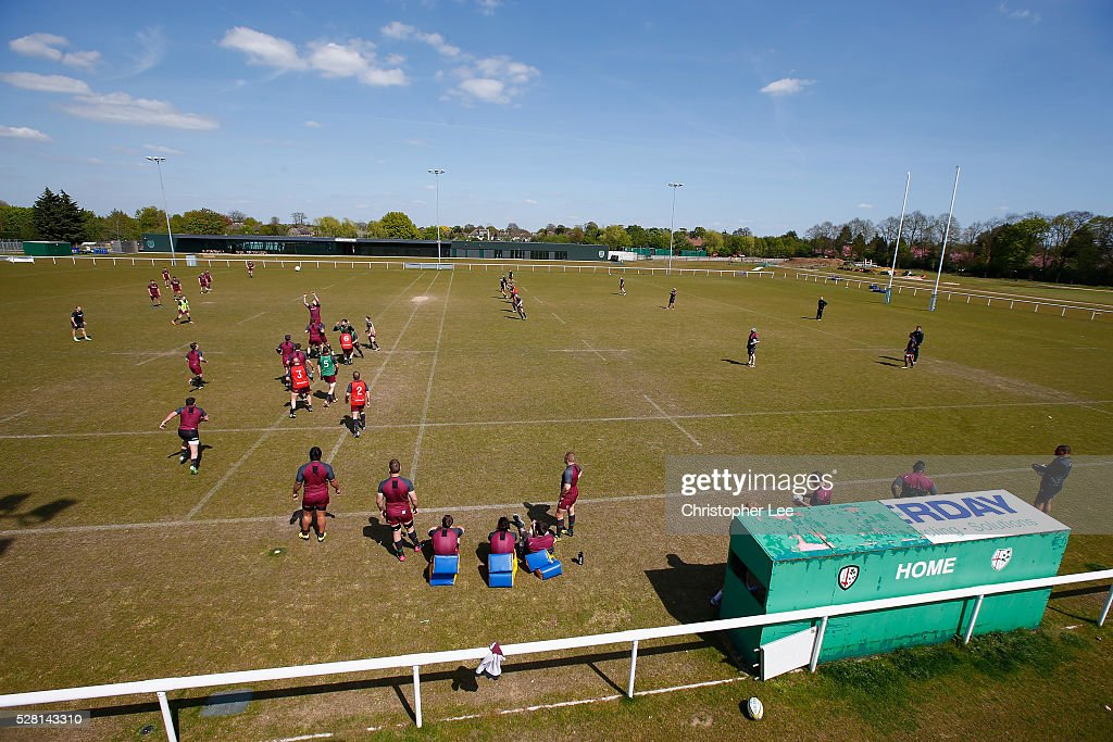 General view of training during the London Irish Media Session at Hazelwood Centre on May 4, 2016 in Sunbury, England.