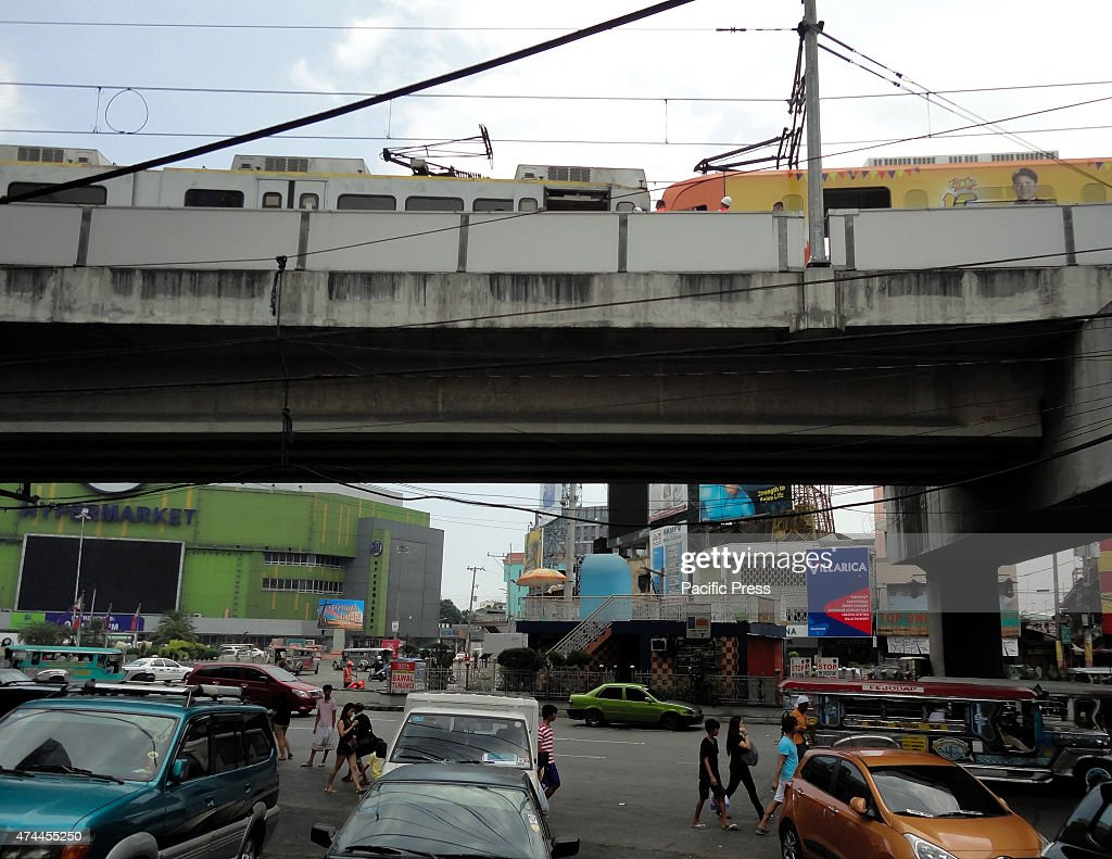 A general view of trains beside Monumento that collided with one another after a technical glitch caused the train behind the orange train to lose...