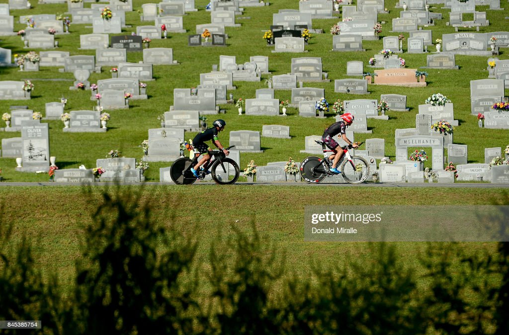 General view of triathlete biking past a cemetery during the Men's IRONMAN 70.3 St. World Championships on September 10, 2017 in Chattanooga, Tennessee.