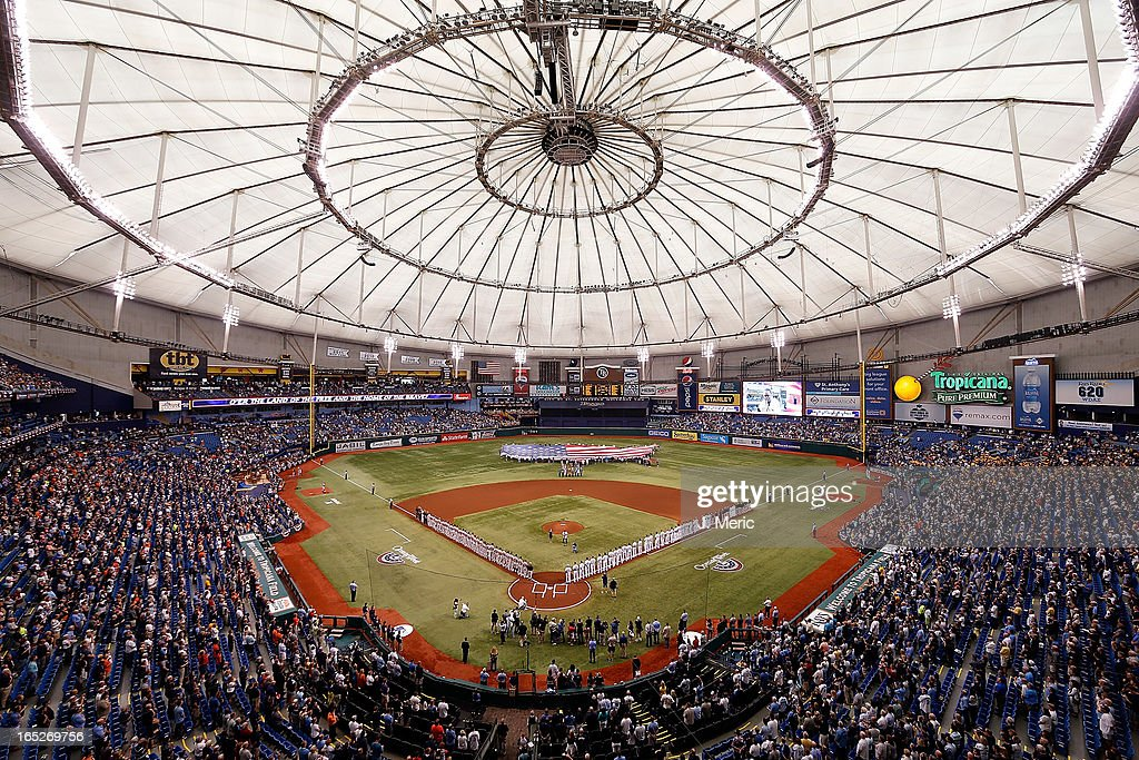 A general view of Tropicana Field just before the start of the Opening Day game between the Tampa Bay Rays and the Baltimore Orioles on April 2, 2013 in St. Petersburg, Florida.