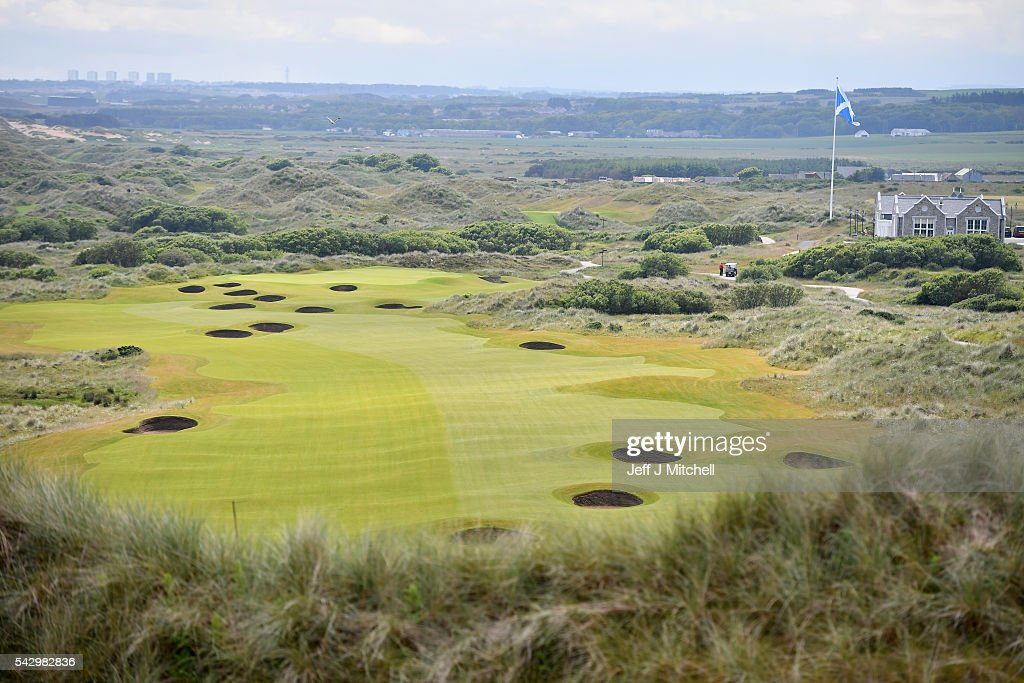 A general view of Trump International Golf Links on June 25, 2016 in Aberdeen, Scotland. The US presidential hopeful was in Scotland for the reopening of the refurbished Open venue golf resort Trump Turnberry which has undergone an eight month refurbishment as part of an investment thought to be worth in the region of two hundred million pounds.