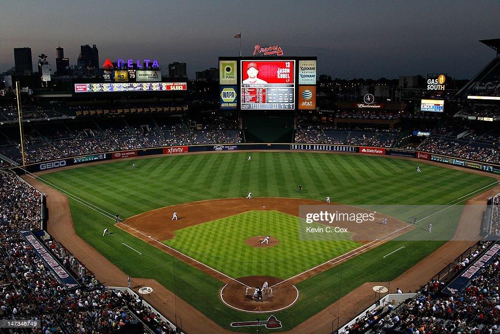 A general view of Turner Field during the game between the Atlanta Braves and the Arizona Diamondbacks on June 26 2012 in Atlanta Georgia