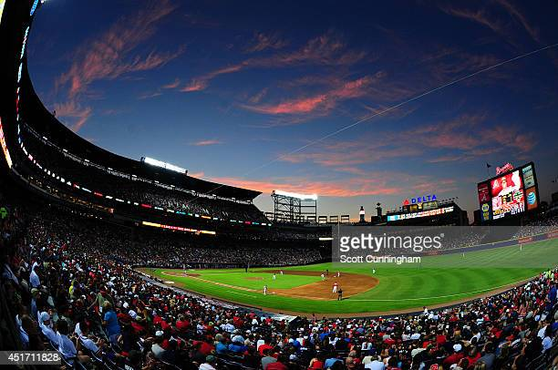 A general view of Turner Field during the game between the Atlanta Braves and the Arizona Diamondbacks on July 4 2014 in Atlanta Georgia