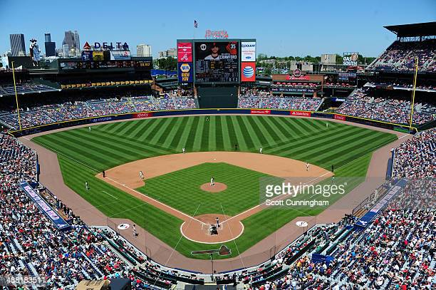 A general view of Turner Field during the game between the Atlanta Braves and the San Francisco Giants on May 4 2014 in Atlanta Georgia