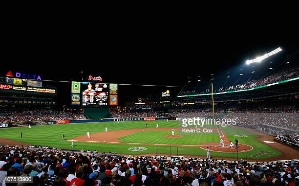 A general view of Turner Field during the game between the Atlanta Braves cheer and the San Francisco Giants during Game Four of the NLDS of the 2010...