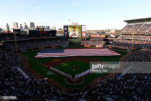 A general view of Turner Field during the National Anthem on Opening Day prior to the game between the Atlanta Braves and the Philadelphia Phillies...