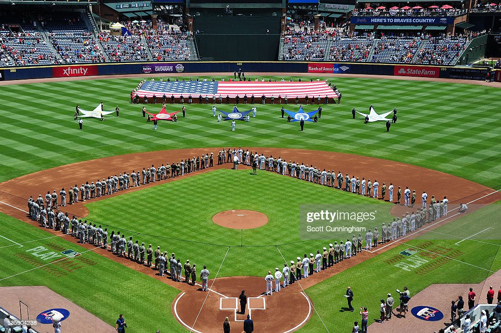 A general view of TurnerField as the Atlanta Braves honor Memorial Day against the San Francisco Giants at Turner Field on May 30, 2016 in Atlanta, Georgia.