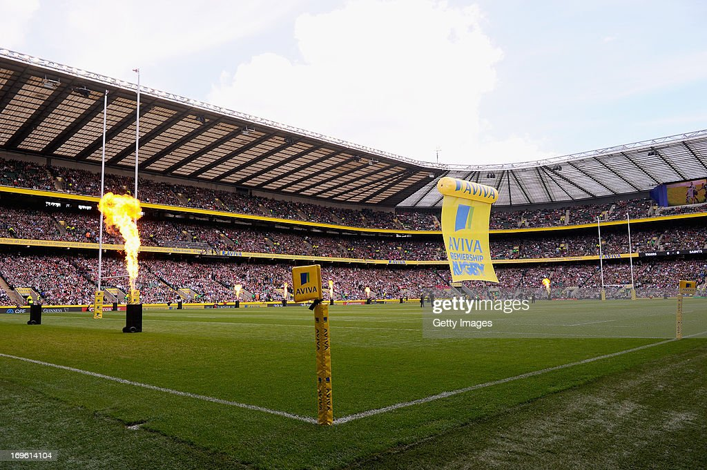 A general view of Twickenham stadium as flame throwers burn before during the Aviva Premiership Final between Leicester Tigers and Northampton Saints at Twickenham Stadium on May 25, 2013 in London, England.