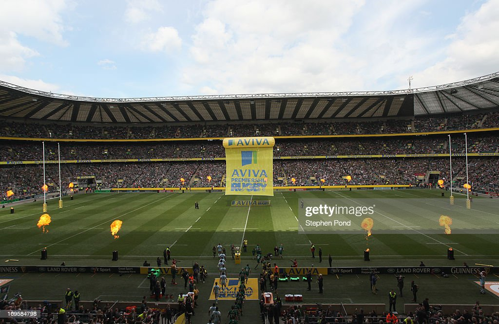 A general view of Twickenham Stadium as the teams walk out from the tunnel during the Aviva Premiership Final between Leicester Tigers and Northampton Saints at Twickenham Stadium on May 25, 2013 in London, England.