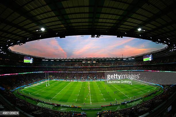 A general view of Twickenham stadium during the 2015 Rugby World Cup Final match between New Zealand and Australia at Twickenham Stadium on October...