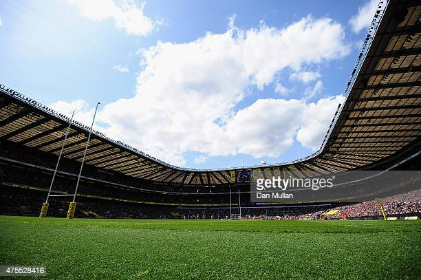 General view of Twickenham Stadium during the Aviva Premiership Final between Bath Rugby and Saracens at Twickenham Stadium on May 30 2015 in London...