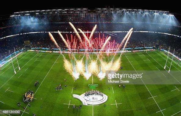 A general view of Twickenham stadium of the fireworks as Richie McCaw of the New Zealand All Blacks lifts the Webb Ellis Cup following the victory...