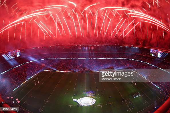 A general view of Twickenham stadium of the fireworks during the New Zealand All Blacks trophy presentation following the victory against Australia...