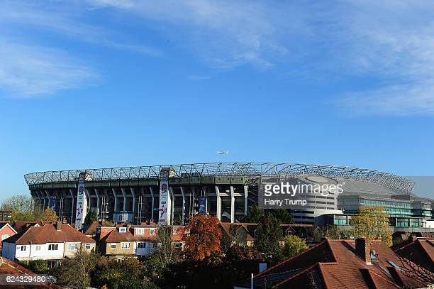 General view of Twickenham Stadium prior to kick off during the Old Mutual Wealth Series match between England and Fiji at Twickenham Stadium on...
