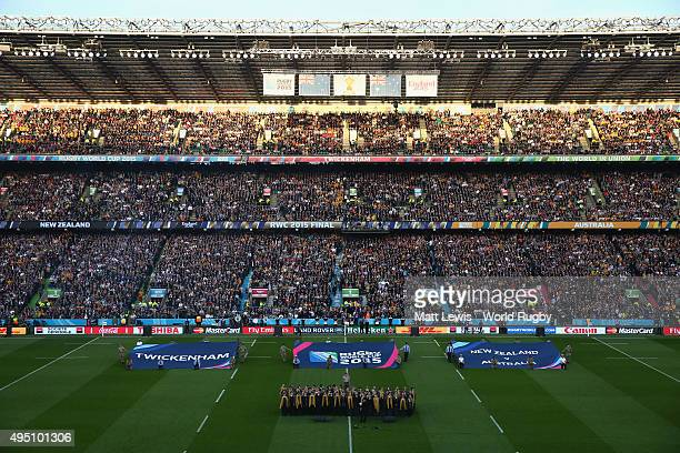 General view of Twickenham Stadium prior to the 2015 Rugby World Cup Final match between New Zealand and Australia at Twickenham Stadium on October...