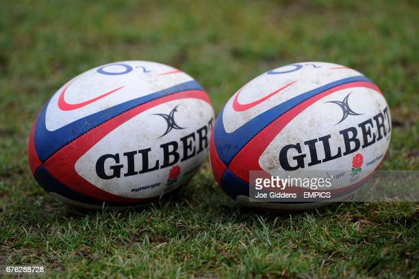 General view of two Gilbert synergie match balls with the England Rugby Logo on