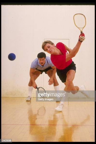 General view of two people playing racquet ball Mandatory Credit Allsport /Allsport