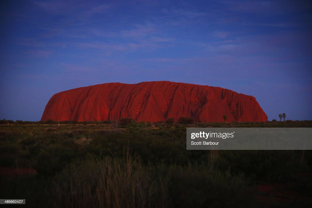 A general view of Uluru, also known as Ayers Rock is seen at sunset on April 21, 2014 in Ayers Rock, Australia. The Duke and Duchess of Cambridge are on a three-week tour of Australia and New Zealand, the first official trip overseas with their son, Prince George of Cambridge.