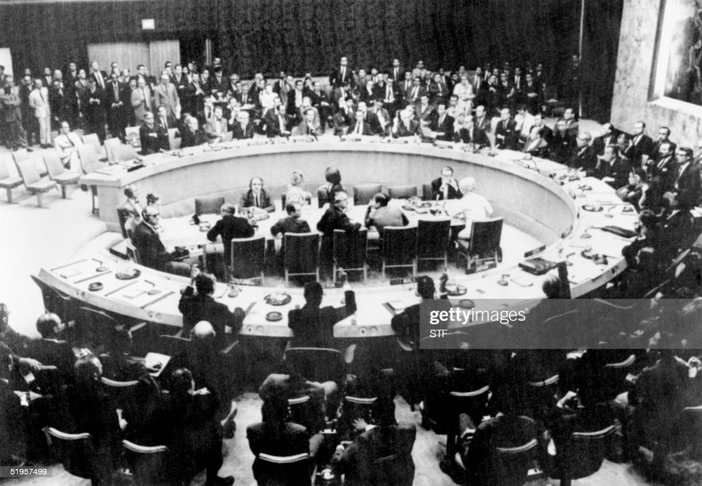 General view of UN Security Council gathered 07 June 1967 during the IsraeliArabian war AFP PHOTO