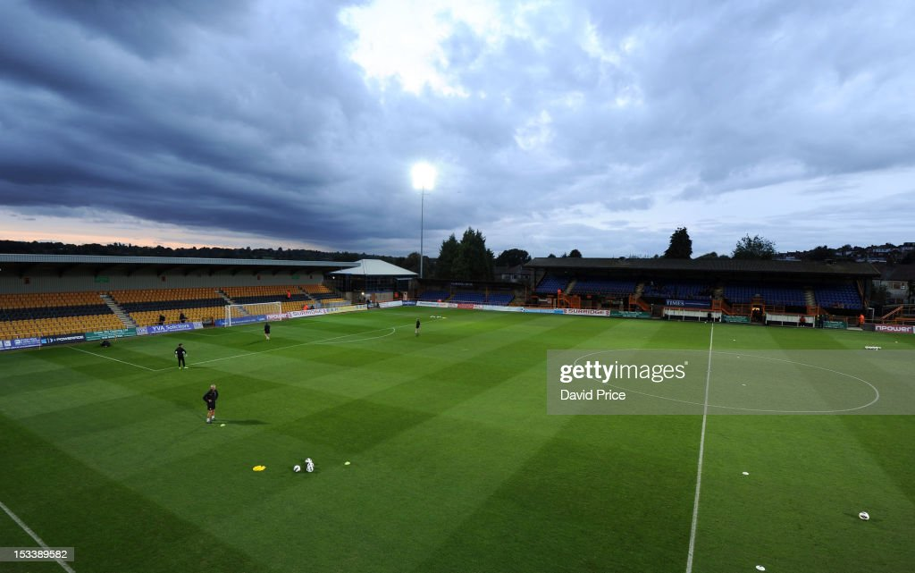 A general view of Underhill Stadium the home of Barnet FC and venue for NextGen Series match between Arsenal U19 and Olympiacos U19 at Underhill...