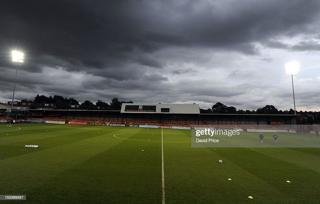 A general view of Underhill Stadium the home of Barnet F.C. and venue for NextGen Series match between Arsenal U19 and Olympiacos U19 at Underhill Stadium on October 4, 2012 in Barnet, United Kingdom.