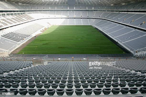 General view of unfinished Allianz Arena football stadium April 16 2005 in Munich Germany The Allianz Arena will be the future home stadium of soccer...