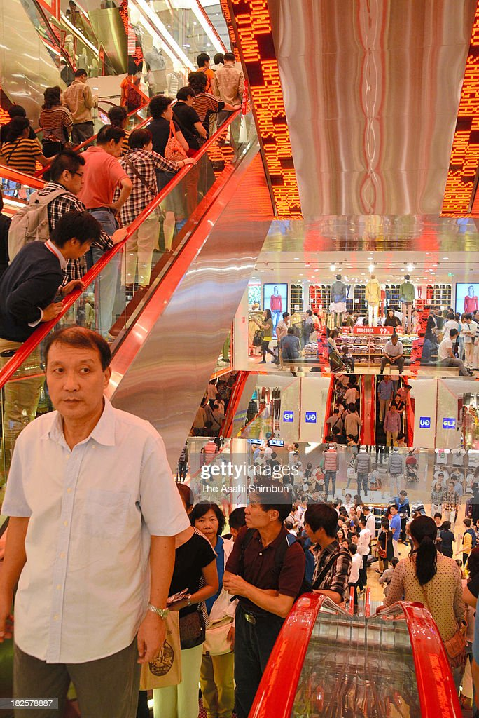 General view of Uniqlo flagship store opening on September 30, 2013 in Shanghai, China. Casual clothing chain Uniqlo opened its largest outlet yet, a store with 6,600 square meters of floor space in central Shanghai.