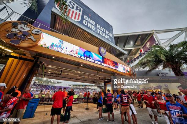 A general view of United States and Panama fans are seen hanging out at the Orlando City Stadium during the World Cup Qualifying match between the...