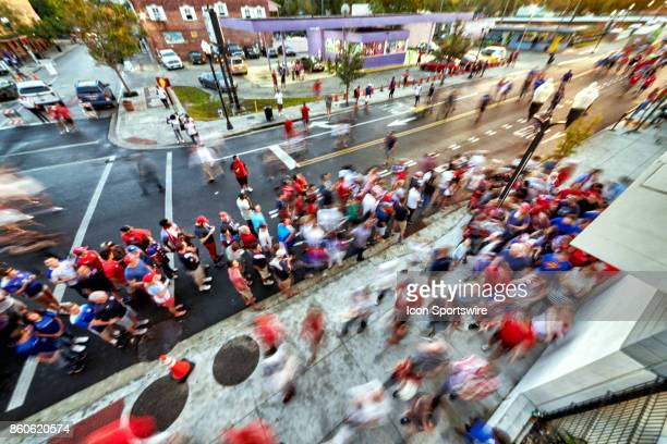 A general view of United States and Panama fans are seen hanging out and entering the Orlando City Stadium from Church Street during the World Cup...