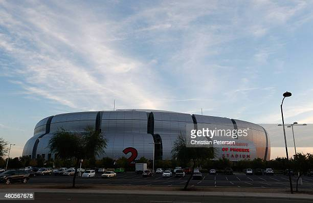 General view of University of Phoenix Stadium on December 11 2014 in Glendale Arizona Super Bowl XLIX will be held at the University of Phoenix...