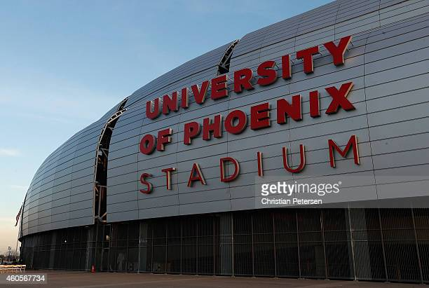 General view of University of Phoenix Stadium on December 11 2014 in Glendale Arizona Super Bowl XLIX will be held at the University of Phoenix...