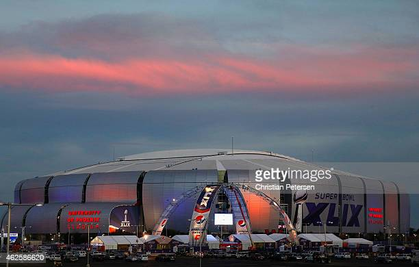General view of University of Phoenix Stadium on January 31 2015 in Glendale Arizona Super Bowl XLIX between the Seattle Seahawks and New England...