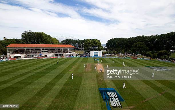 A general View of University Oval during day five of the first international cricket Test match between New Zealand and the West Indies at the...