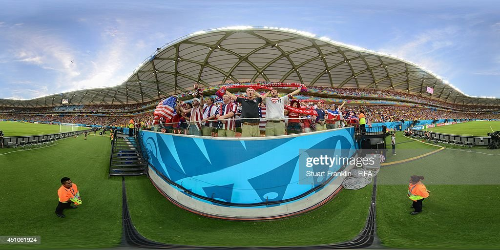 A general view of USA fans before the 2014 FIFA World Cup Brazil Group G match between USA v Portugal at Arena Amazonia on June 22, 2014 in Manaus, Brazil.