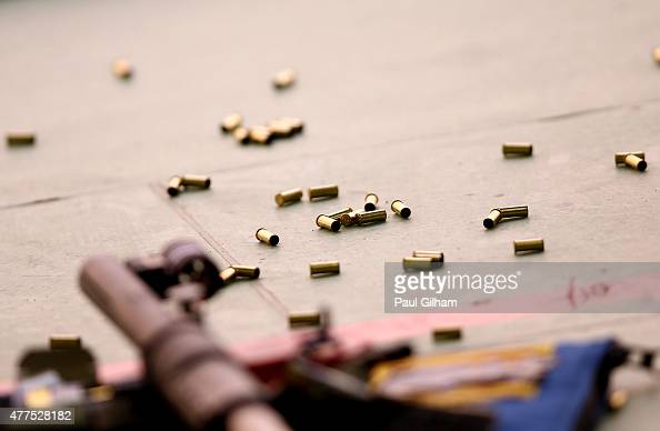 A general view of used bullets in the 50m Rifle Prone Men's Qualification Shooting during day six of the Baku 2015 European Games at the Baku...