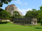 Photo taken at Uxmal in Yucatan - Mexico. View of the main mayan pyramid and temple