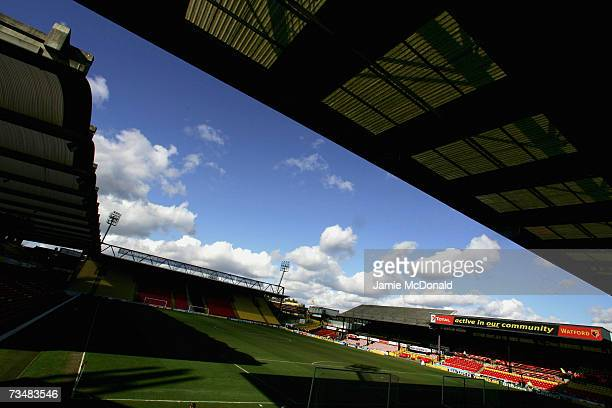 A general view of Vicarage Road prior to the Barclays Premiership match between Watford and Charlton Athletic on March 3 2007 at Vicarage Road in...